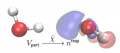 The hydrogen bond formation of a water dimer is a good example to illustrate the idea. The hydrogen donor molecule to the left perturbs the hydrogen bond acceptor molecule to the right. The density of the acceptor molecule responds to the presence of the perturbing environment. This change in density, the response density, can be efficiently obtained from the electronic susceptibility χ.